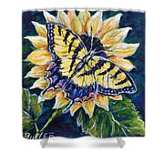 Tiger And Sunflower Shower Curtain