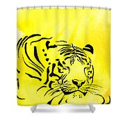 Tiger Animal Decorative Black And Yellow Poster 1 - By   Diana Van Shower Curtain