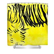 Tiger Animal Decorative Black And Yellow Poster 2 - By Diana Van Shower Curtain