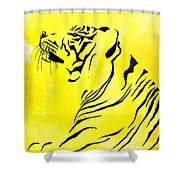 Tiger Animal Decorative Black And Yellow Poster 3 - By  Diana Van Shower Curtain