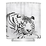 Tiger Animal Decorative Black And White Poster 1 - By  Diana Van Shower Curtain