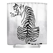Tiger Animal Decorative Black And White Poster 4 - By  Diana Van Shower Curtain