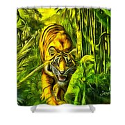 Tiger In The Forest Shower Curtain