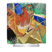 Tiger In The Jungle By Franz Marc Red And Yellow Tiger On The Prowl Shower Curtain