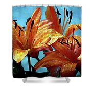 Tiger Lilies After The Rain - Painted Shower Curtain