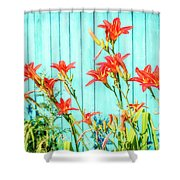 Tiger Lily And Rustic Blue Wood Shower Curtain