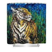 Tiger Night Hunt Shower Curtain