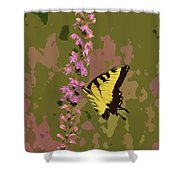 Tiger On Blazing Star Shower Curtain