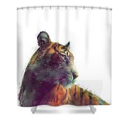 Tiger // Solace - White Background Shower Curtain