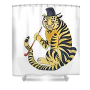 Tiger With Pipe Shower Curtain