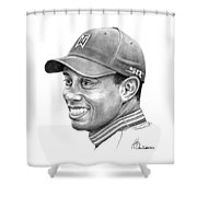 Tiger Woods Smile Shower Curtain
