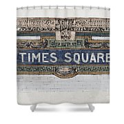 Tile Mosaic Sign, Times Square Subway New York, Handmade Sketch Shower Curtain