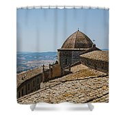 Tile Roof Tops Of Volterra Italy Shower Curtain