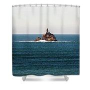 Tillamook Rock Lighthouse On A Calm Day Shower Curtain