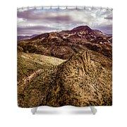 Tilt-shift Mountain Peak Shower Curtain
