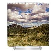Tilt-shift Mountain Road Shower Curtain