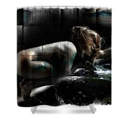 Tilted Water Girl Shower Curtain