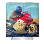Time And Space Equation - Triumph 600tt Shower Curtain