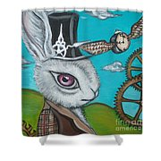 Time Flies For The White Rabbit Shower Curtain