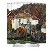 Time For Use The Stove. November In The Serbia. Shower Curtain