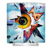 Time. Shattered Pieces Shower Curtain
