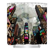 Time Square Mixed Media Shower Curtain