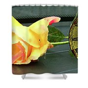 Time To Give A Rose - Yellow And Pink Rose - Clock Face Shower Curtain
