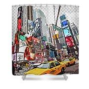 Times Square Pop Art Shower Curtain