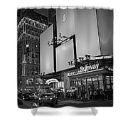 Times Square Subway Stop At Night New York Ny Black And White Shower Curtain