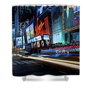 Times Square With Light Trail Shower Curtain