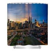 Timeslice Of Day To Night Of Kuala Lumpur City Shower Curtain