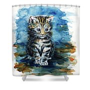 Timid Kitten Shower Curtain
