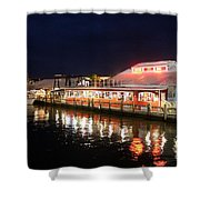 Tin City At Night -naples Fl Shower Curtain