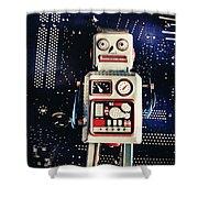 Tin Toy Robots Shower Curtain