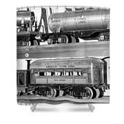 Tin Toy Trains Shower Curtain