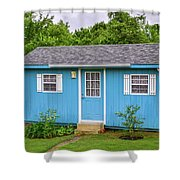 Tiny Blue House Shower Curtain