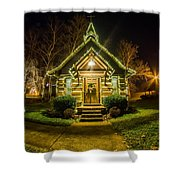 Tiny Chapel With Lighting At Night Shower Curtain