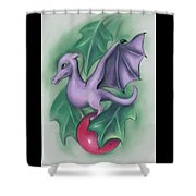Tiny Dragon On A Holly Berry Shower Curtain by MM Anderson