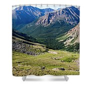 Tiny Hikers On The Mount Massive Summit Shower Curtain