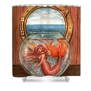 Tiny Mermaid Shower Curtain