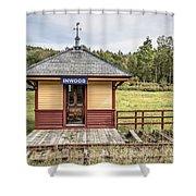 Tiny Train Station Barnet Vermont Shower Curtain