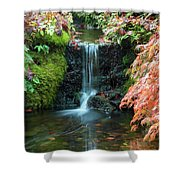 Tiny Waterfall In Japanese  Garden.the Butchart Gardens,victoria.canada. Shower Curtain