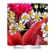 Tiny White Flowers Shower Curtain
