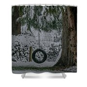 Tire Swing In Winter Shower Curtain