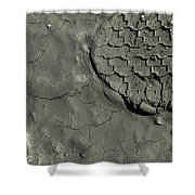 Tire Track In Gray Mud Shower Curtain