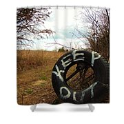 Tired Sign Says Keep Out Shower Curtain