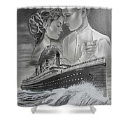 Titanic Drawing With Kate And Leonardo Shower Curtain