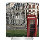 Titanic Hotel And Red Phone Box Shower Curtain