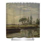 Title Barge Below Flatford Lock Shower Curtain