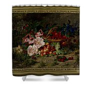 Title Flowers And Fruit Shower Curtain